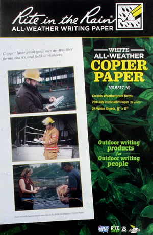 Rite in the Rain weatherproof laser  paper