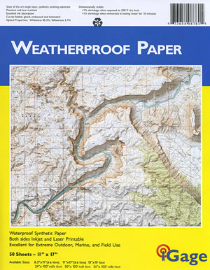 weatherproof paper In addition to providing a thorough solution for waterproof papers, power paper is a well-rounded synthetic paper: tear-resistant, chemical and grease-resistant, a single-layered sheet, excellent printing quality especially for a synthetic paper, and it is very flexible for other post-printing operations such as laminating.