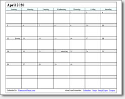picture regarding Printable Calendar April named April 2020 Printable Calendar - Print as innumerable as on your own need to have.