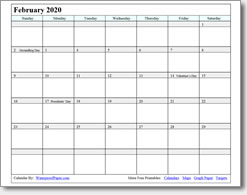 image regarding Waterproof Printable Calendar known as February 2020 Printable Calendar - Print as a lot of as your self need.