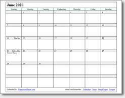 graphic relating to Printable June identify June 2020 Printable Calendar - Print as countless as on your own have to have!