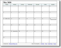 May 2020 Printable Calendar - Print as many as you want!