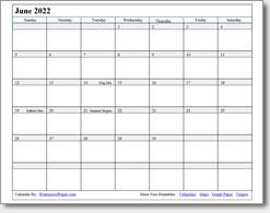 June 2022 calendar
