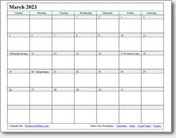 March 2023 calendar