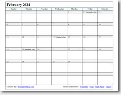 February 2024 calendar