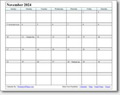 November 2024 calendar