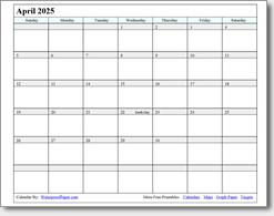 April 2025 calendar