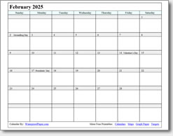 February 2025 calendar