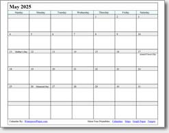 May 2025 calendar