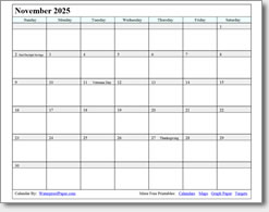 November 2025 calendar