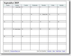 September 2025 calendar