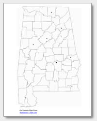 printable Alabama major cities map unlabeled