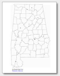 printable Alabama major cities map unlabeled