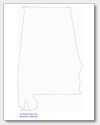 printable Alabama outline map