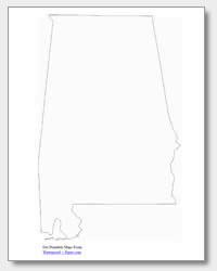 printable Alabama outline map