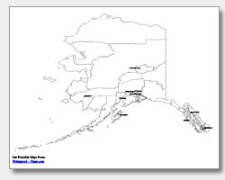 printable Alaska major cities map labeled
