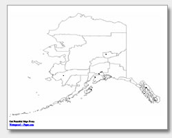 printable Alaska major cities map unlabeled
