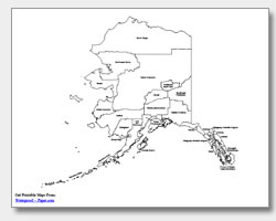 Printable Alaska Maps State Outline Borough Cities