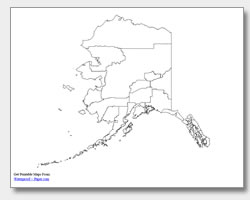 printable Alaska county map unlabeled