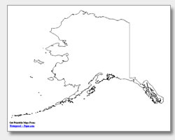 printable Alaska outline map