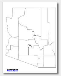 Printable Arizona Maps State Outline County Cities - Map of arizona cities and counties
