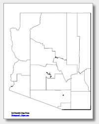 printable Arizona major cities map unlabeled