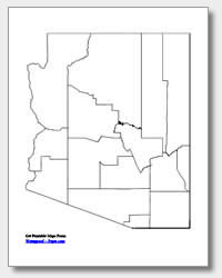 printable Arizona county map unlabeled