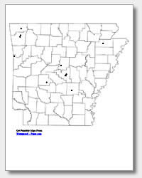 printable Arkansas major cities map unlabeled