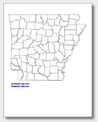 printable Arkansas county map unlabeled