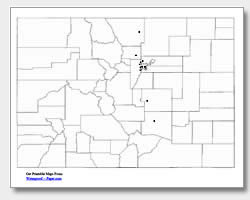 printable Colorado major cities map unlabeled