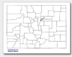 printable Colorado county map unlabeled