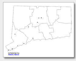 printable Connecticut major cities map unlabeled