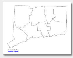 printable Connecticut county map unlabeled