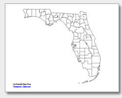 printable Florida major cities map unlabeled