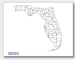 printable Florida county map unlabeled