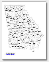 Printable Georgia Maps State Outline County Cities - County map of georgia