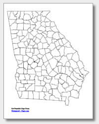 printable Georgia county map unlabeled