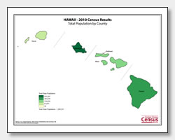 printable Hawaii population by county map
