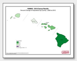 printable Hawaii population population change map