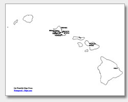 printable Hawaii major cities map labeled
