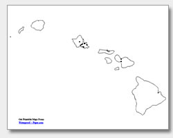 printable Hawaii major cities map unlabeled