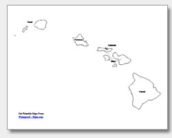 Bright image with printable maps of hawaii