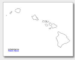 printable Hawaii county map unlabeled