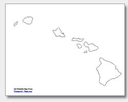 printable Hawaii outline map