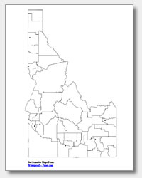 printable Idaho major cities map unlabeled