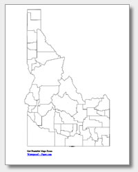 printable Idaho county map unlabeled