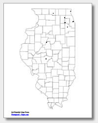 printable Illinois major cities map unlabeled