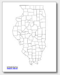 printable Illinois county map unlabeled