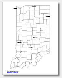 printable Indiana major cities map labeled