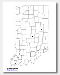 printable Indiana major cities map unlabeled